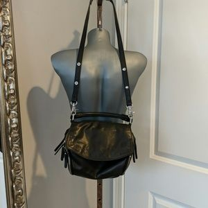 Zara Basic Crossbody Black Leather Bag